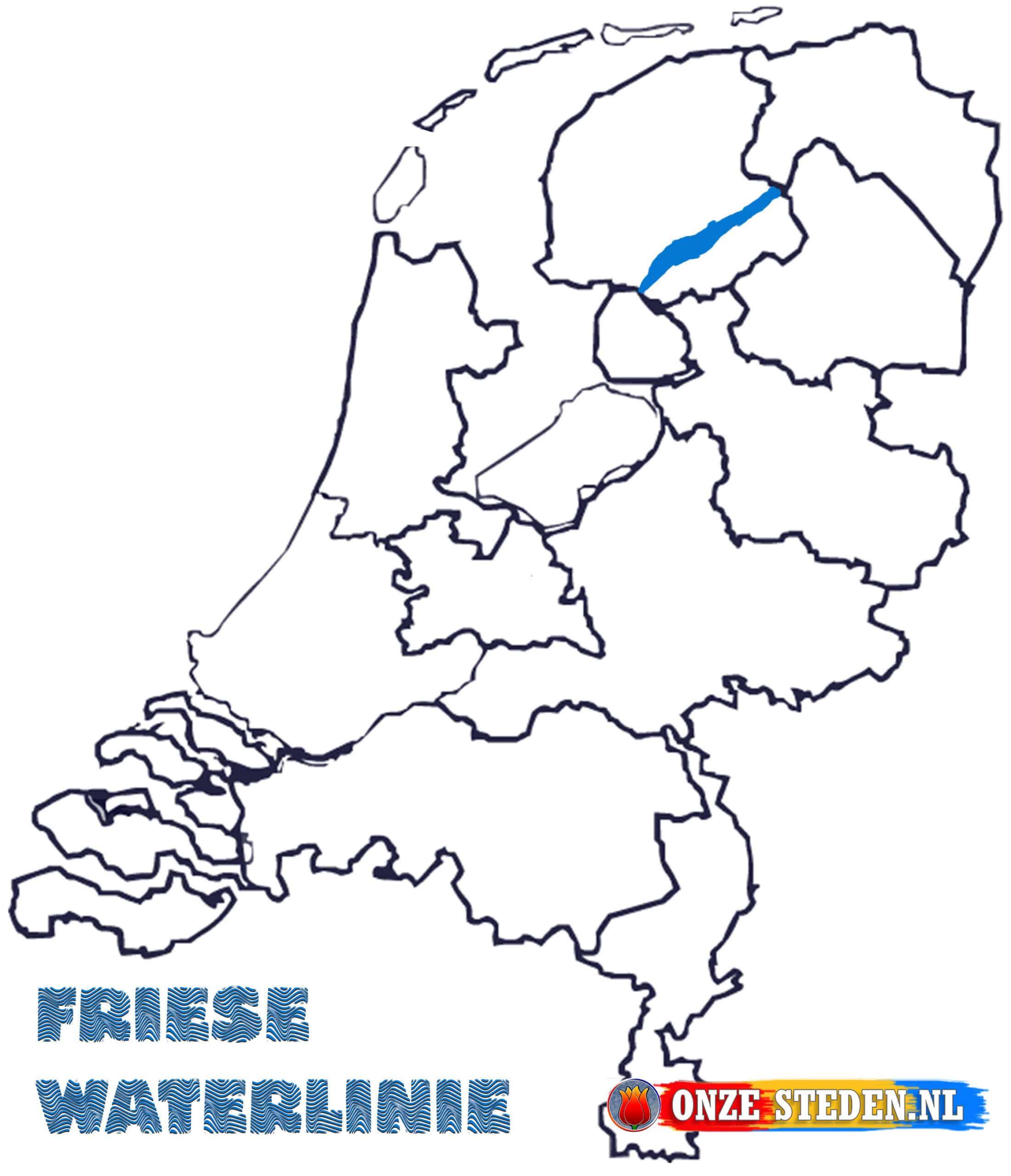 Friese Waterlinie op de kaart