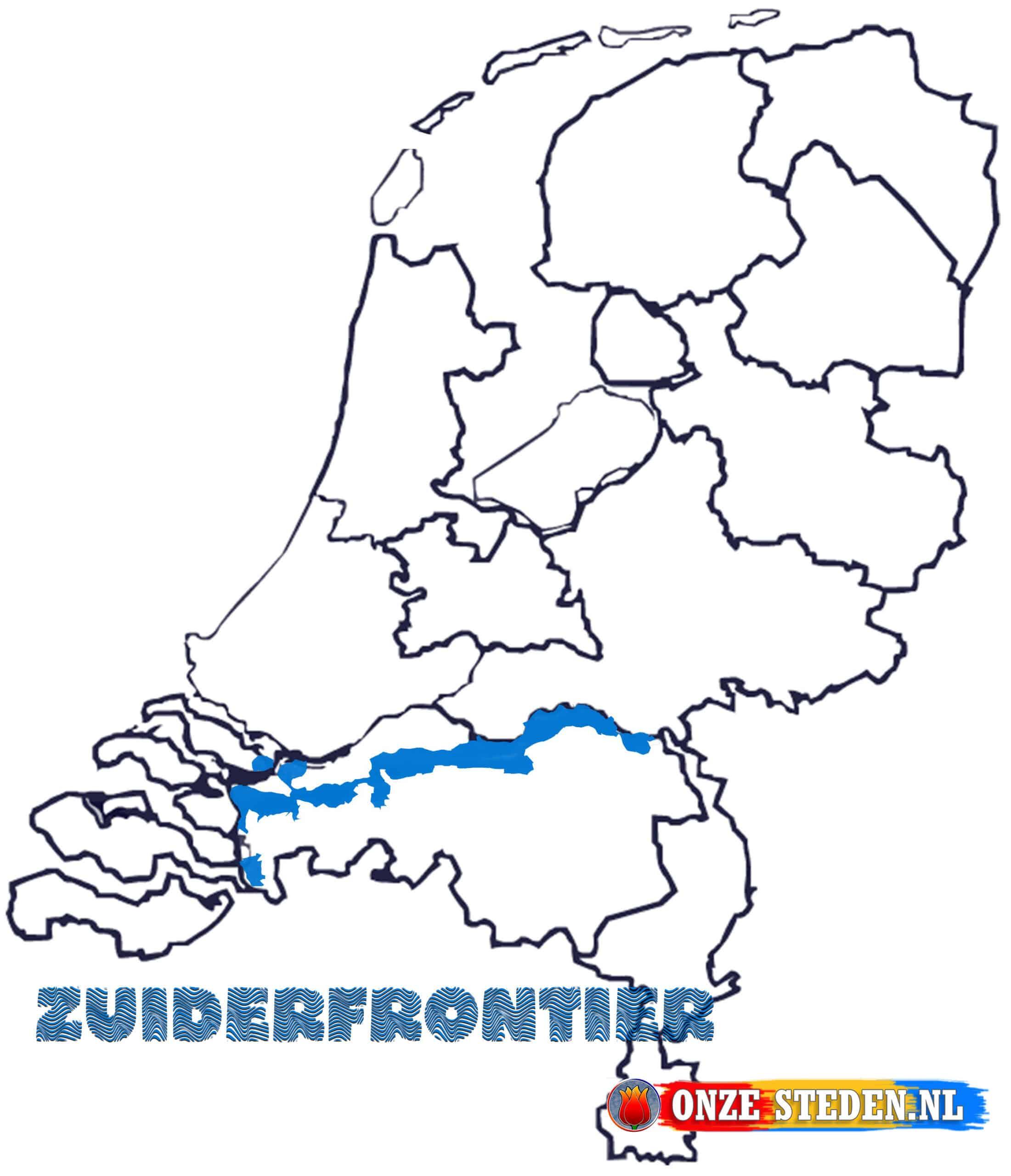 Zuiderfrontier / Zuidwaterlinie op de kaart